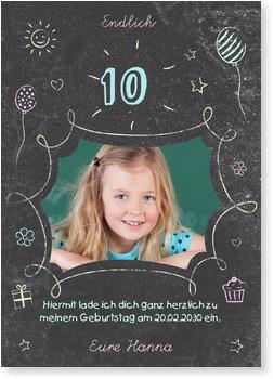 Einladungskarten Kindergeburtstag, Geburtstagstafel