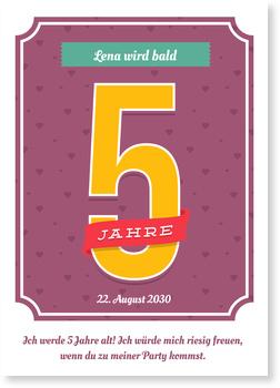 Einladungskarten Kindergeburtstag, Große 5