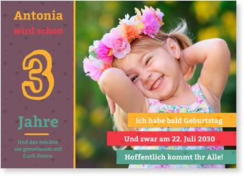 Einladungskarten Kindergeburtstag, Große Zahl