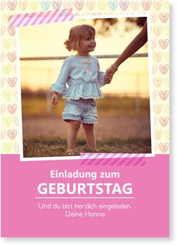 Einladungskarten Kindergeburtstag, Herzilein in Rosa