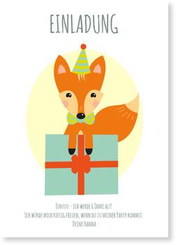 Einladungskarten Kindergeburtstag, Kleiner Fuchs