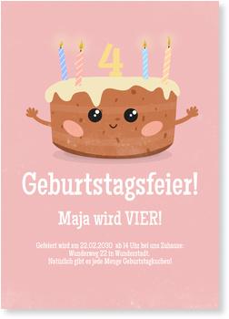 Einladungskarten Kindergeburtstag, Kuchen Rosa