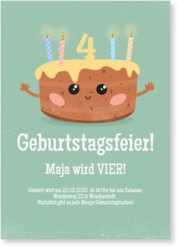 Einladungskarten Kindergeburtstag, Kuchen