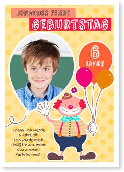 Einladungskarten Kindergeburtstag, Lustiger Clown in Gelb