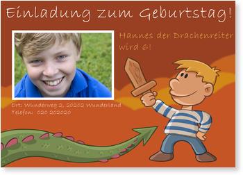 Einladungskarten Kindergeburtstag, Drachenreiter