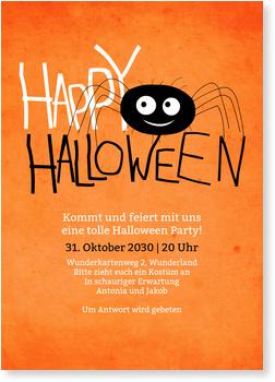 Einladungskarten Halloween , Kleine Spinne