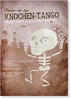 Einladungskarten Halloween , Knochentango
