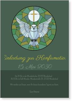 Einladungskarten Konfirmation, Mosaik mit Täubchen