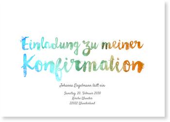 Einladungskarten Konfirmation, Aquarellschrift in Orange