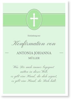 Einladungskarten Konfirmation, Banderole mit Kreuz in Grün