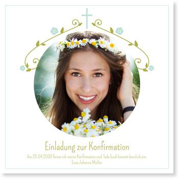 Einladungskarten Konfirmation, Blütengirlande