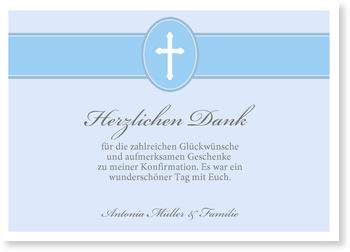 Danksagungskarten Konfirmation, Banderole mit Kreuz in Blau