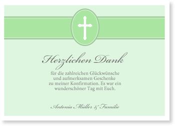 Danksagungskarten Konfirmation, Banderole mit Kreuz in Grün