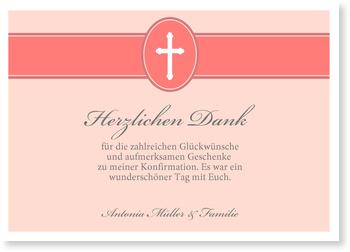 Danksagungskarten Konfirmation, Banderole mit Kreuz