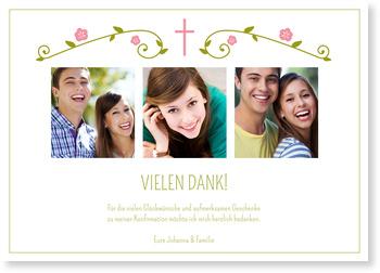 Danksagungskarten Konfirmation, Blütengirlande in Rosa