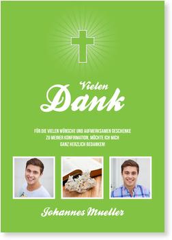 Danksagungskarten Konfirmation, Einfaches Kreuz in Grün