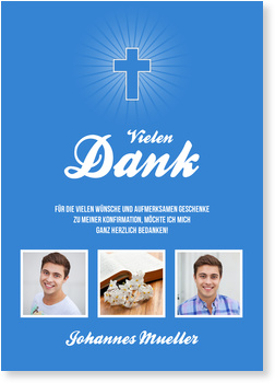 Danksagungskarten Konfirmation, Einfaches Kreuz