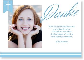 Danksagungskarten Konfirmation, Eleganter Schriftzug in Blau