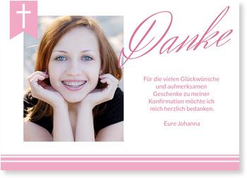 Danksagungskarten Konfirmation, Eleganter Schriftzug in Rosé