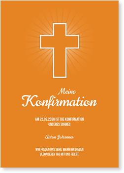 Einladungskarten Konfirmation, Einfaches Kreuz in Orange