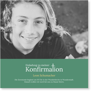 Einladungskarten Konfirmation, Kreuz-t in Türkis