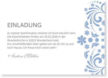 Einladungskarten Konfirmation, Elegante Einladung in Blau