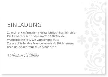 Einladungskarten Konfirmation, Elegante Einladung