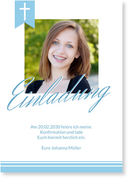 Einladungskarten Konfirmation, Eleganter Schriftzug in Blau