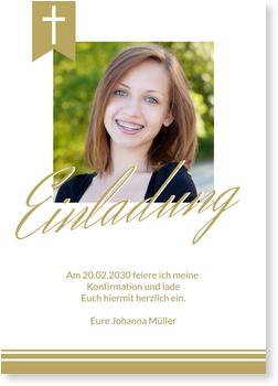 Einladungskarten Konfirmation, Eleganter Schriftzug