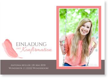 Einladungskarten Konfirmation, Federleicht