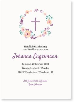 Einladungskarten Konfirmation, Floraler Kreis in Lila