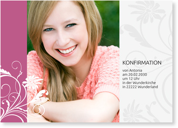 Einladungskarten Konfirmation, Blumenranke in Pink