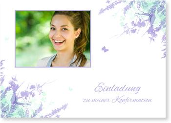 Einladungskarten Konfirmation, Schmetterlinge in Lila