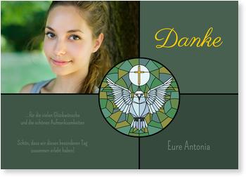 Danksagungskarten Konfirmation, Kirchenfenster mit Täubchen