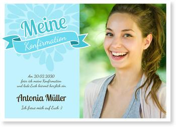 Einladungskarten Konfirmation, Verspielte Banderole in Hellblau