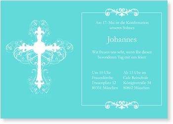 Einladungskarten Konfirmation, Ornamentkreuz in Türkis