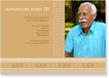 Einladungskarten 70. Geburtstag, Zum 70. Antik mit Foto