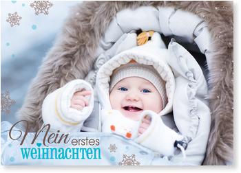 Weihnachtskarten Baby, Schriftzug in Türkis
