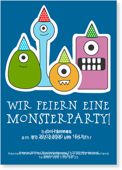 Einladungskarten Kindergeburtstag, Monsterparty