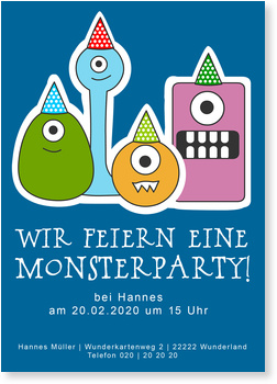 Einladungskarten Halloween , Monsterparty - Halloween