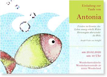Einladungskarten Taufe, Mosaik - Fischi