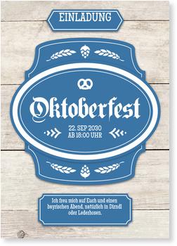 Einladungskarten Oktoberfest, Banner in Blau