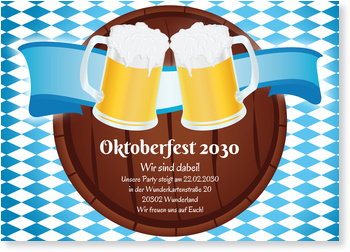 Einladungskarten Oktoberfest, Oktoberfest - Bierfass
