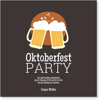 Einladungskarten Oktoberfest, Bierknall in Braun