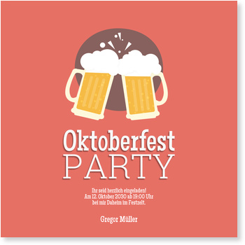 Einladungskarten Oktoberfest, Bierknall in Orange