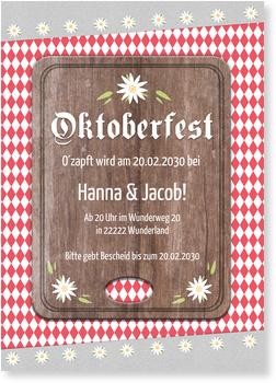 Einladungskarten Oktoberfest, Brotzeit in Rot