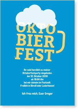 Einladungskarten Oktoberfest, Oktobierfest in Blau
