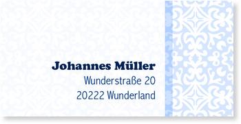 Adressaufkleber sonstiges, Adressaufkleber - Ornamentfliesen - Blau