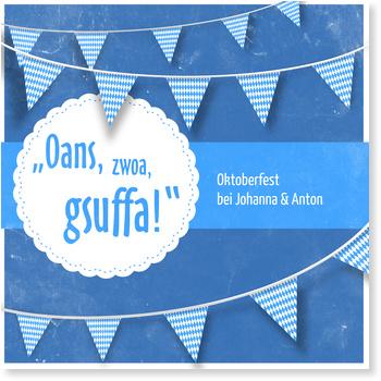 Einladungskarten Oktoberfest, Oktoberfest Gsuffa in Blau