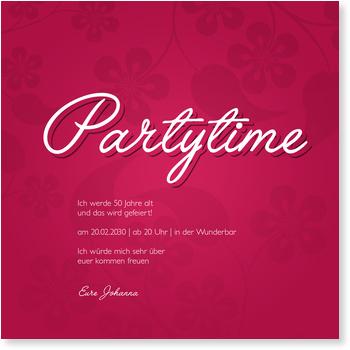 Einladungskarten 50. Geburtstag, Partytime Floralmuster